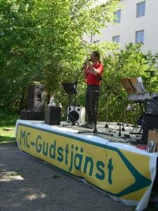 Mc gudstjänst där bl.a jag predikade utanför Allhelgonakyrkan i Stockholm 2008